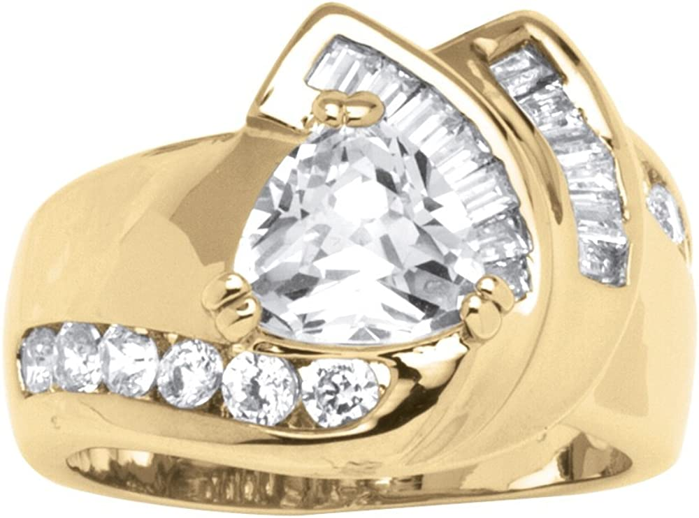 Palm Beach Jewelry Gold-Plated Trillion Cut Cubic Zirconia Engagement Ring