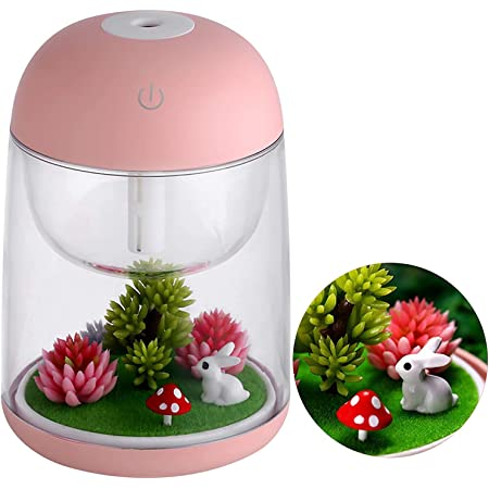 GENNISSY 180Ml USB Cute Mini Landscape Air Humidifier Essential Oil Diffuser with 7 Colors LED Night Light, Waterless Auto Shut-off for Bedroom, Home, Office , Baby