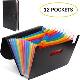 Fanyuanfds File Folder Organizer/12 Pockets Hot Pressing Forming Document Organizer with Cloth Edge Wrap and File Guides, Multi-Color Accordion A4 Size with Expanding Wallet Stand for Business/Office