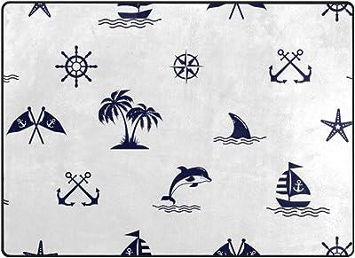 "Mydaily Dolphin Sailing Anchor Starfish Area Rug 4'10"" x 6'8"", Living Room Bedroom Kitchen Decorative Lightweight Foam Nursery Rug Floor Mat"