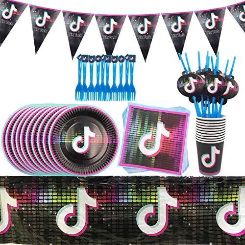YUESEN 62 Piezas TIK Tok Vajilla De Fiesta Temática, Kit Vajilla Desechable de Cumpleaños de Niños Está Impresa con Banner de Feliz Cumpleaños Juego de Platos Banquetes para 10 Personas