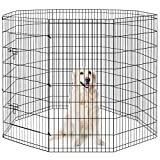 HONGFENGDZ Puppy Playpen Dog Pen Indoor Pet Play Yard Fence Outdoor Foldale Metal Wire Exercise Play Pen for Small Medium Large Dogs Rabbit Bunny Enclosure Gate 48'