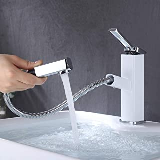 KAIYING Bathroom Sink Faucet with Pull Out Sprayer, Single Handle Kitchen Basin Mixer Tap for Hot and Cold Water, Pull Down Vessel Sink Faucet with Rotating Spout,Brass (Regular, Chrome & White)
