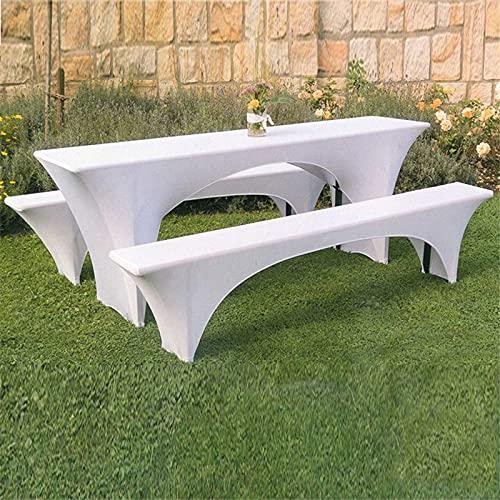 Cubierta elástica para banco de mesa, mantel de licra lavable, antiarrugas, funda rectangular para taburete, resistente a la decoloración, extensible para la mesa de patio para la familia de bodas