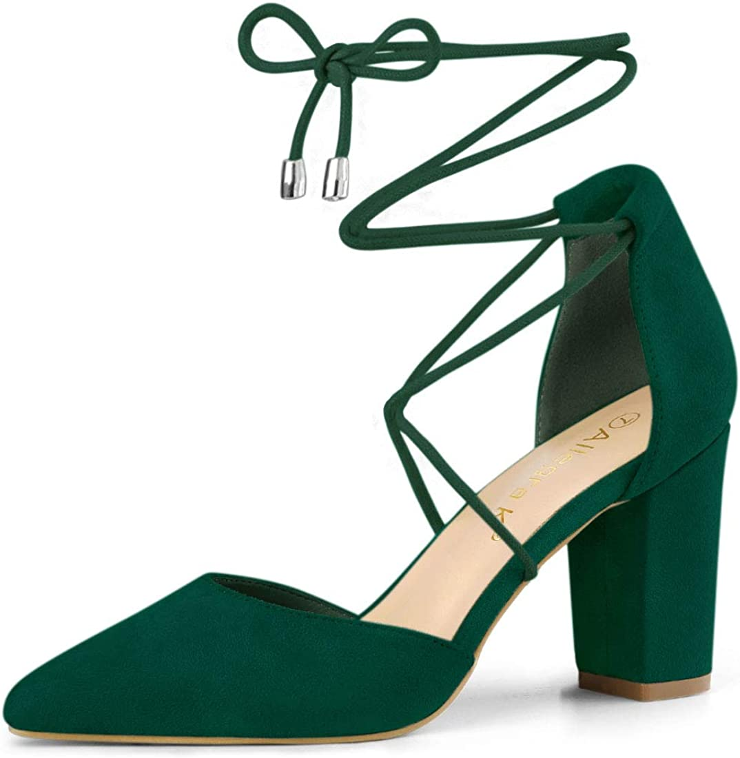 Allegra K Women's Pointed Toe Chunky Heels Lace Up Sandals Pumps