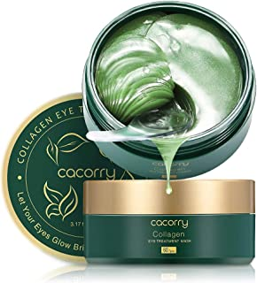 CACORRY Under Eye Mask - Under Eye Patches for Dark Circles Puffiness Bags Treatment 30 Pairs Green Tea Collagen Under Eye Gel Pads Anti Aging Wrinkles Natural Cooling Eye Pads for Puffy Eyes and dark circles