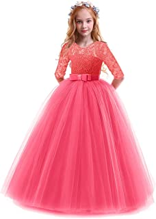 FYMNSI Flower Girls 3/4 Sleeve Lace Tulle Communion Pageant Dresses Princess Birthday Wedding Kids Prom Ball Gown