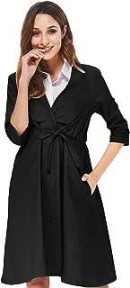 Noblemoon Women Slim Long Trench Coat Windbreaker Ladies Single-Breasted Belted Jacket Outwear Pockets Cotton
