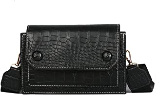 Vintage Women Crocodile Pattern Shoulder Bag Handbags Women Bags Crossbody Bag,Black