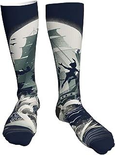 Yuanmeiju Calcetines gruesos y cálidos Peter Pan Neverland Captain Hook Ship Soft Comfort Crew Socks Casual Athletic 20in ...
