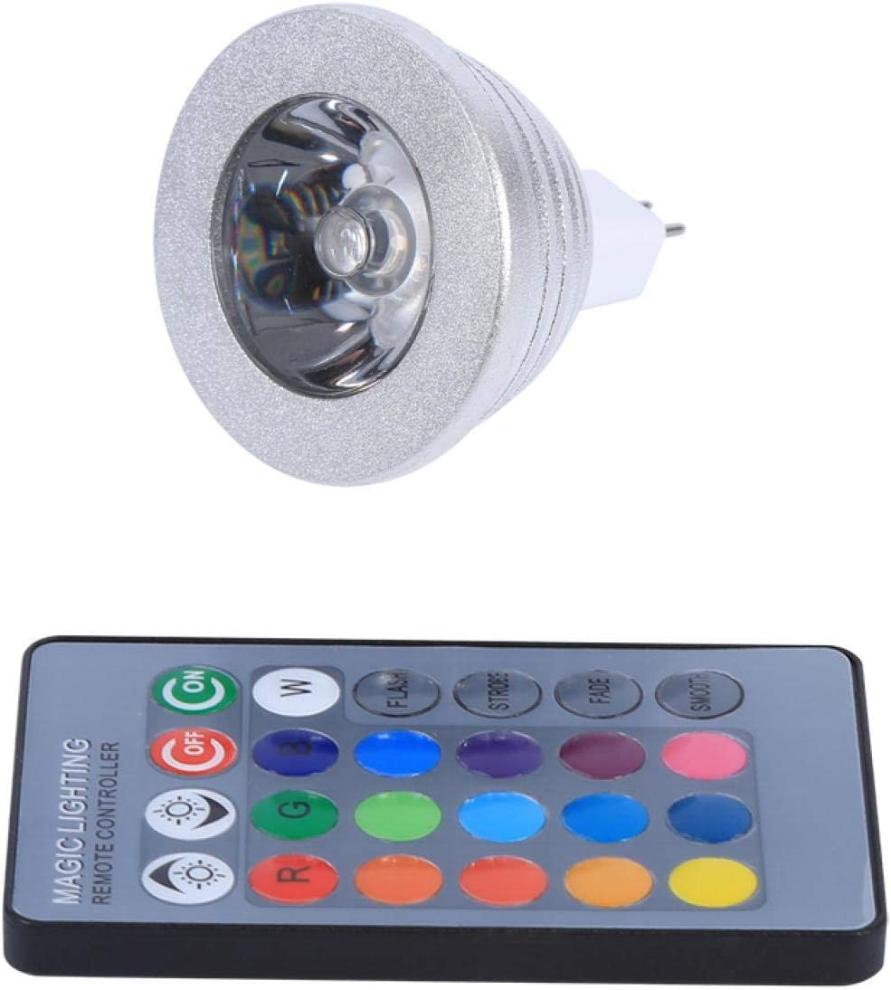 Omabeta MR16 3W RGB LED Luz de Color cambiante Bombilla de lámpara 12V-24V para el hogar Bar Fiesta Paisaje Decorativo Escena Regulable RGB Luz de Punto mágico