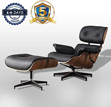 Mid Century Lounge Chair Indoor Recliner w/Ottoman Chaise Top Grain Leather Classic Modern Living Room Bedroom Reading Gaming