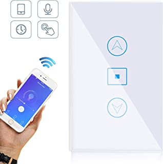 Smart Dimmer Switch/WiFi Smart Wall Touch Light Dimmer Switch Glass Panel Smart Life APP Provides Control from Anywhere Compatible with Alexa Google home, No Hub Required-White
