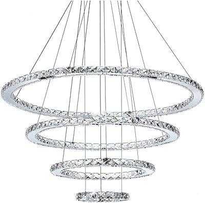 SXMY Accesorio de iluminación Moderno de la lámpara Colgante LED de la lámpara cristalina del Anillo para el vestíbulo Interior del Dormitorio