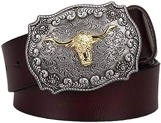 Men'S Belt Male Genuine Leather Belt American West Cowboy Cow Head Pin Buckle Cowhide Belt Men Gift