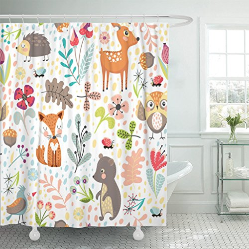 Shower Curtain Colorful Hedgehog Woodland
