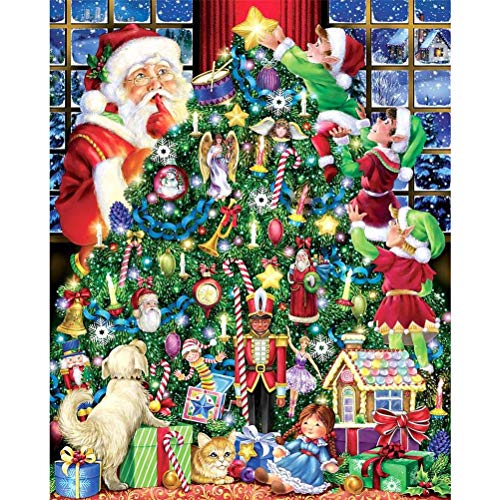 Jackallo Rompecabezas de Navidad 1000 Piezas para Niños Adultos Árbol de Navidad de Santa Rompecabezas de Feliz Navidad Rompecabezas de Alivio del Estrés para Regalos de Juguete de Navidad