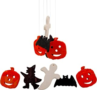 Treasure Co Trio Halloween Wind Chimes (2 Sets) Ceramic Chimes Vintage Look Outdoor Pumpkin Bat Ghost Hanging Decor, 14 in Long