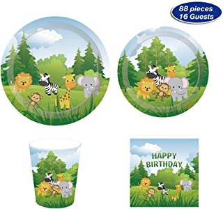 Safari Jungle Animals Party Supplies – Serves 16 – Includes Plates, Cups and Napkins Perfect for Theme Party,1st Birthday,Baby Shower,Picnic,Thanksgiving,Christmas,Home Parties and Festivals(88)