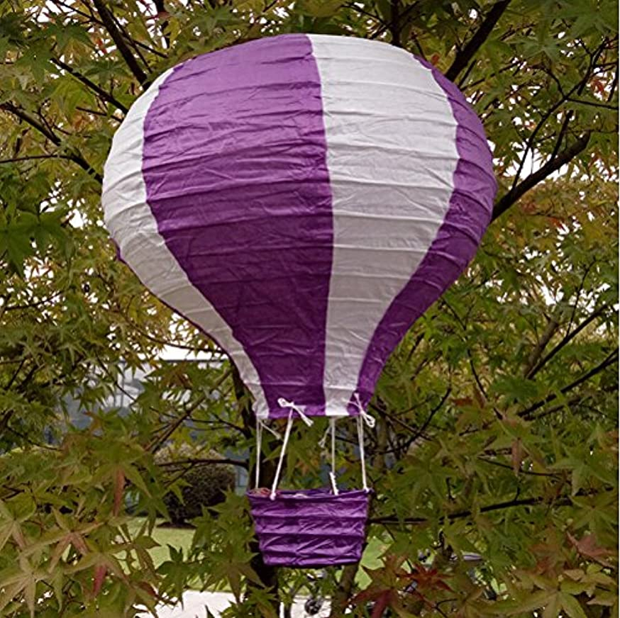 Joinwin 12 Inch Hanging Wedding Rainbow Hot Air Balloon Paper Lantern Party Decorations, Pack of 5 Pieces (White + Purple)