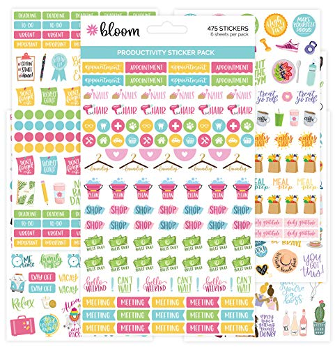 bloom daily planners Productivity Stickers - Variety Sticker Pack - Six Sticker Sheets Per Pack