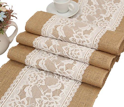 Makhry EIN Satz von 12 x 108 Zoll Rustikale Hochzeit Gunsten Sackleinen Tischläufer mit Spitze Drinnen Draußen Hochzeit Dekoration (#3 Rose)