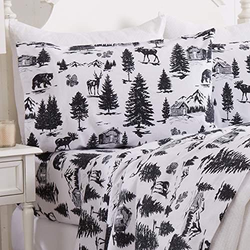 Great Bay Home 4 Piece Extra Soft Printed 100% Turkish Cotton Flannel Sheet Set. Heavyweight, Warm, Cozy, Luxury Winter Bed Sheets. Lakeview Collection (King, December Frost)