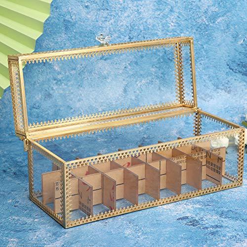 Boîte de Rangement pour cosmétiques Gold Edge Flip Cover Type Lipstick Cosmetic Storage Box Container Organizer (9.3 x 3.5 x 4.1 in)