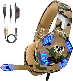 VersionTECH. Auriculares Gaming con Microfono de Diadema-Bass OverEar 3.5mm Jack,Luz LED,Volumen Control,Bajo Ruido para Nueva Xbox One/Nintendo Switch/PC/Ordenador Portátil /Móvil(Camuflaje)