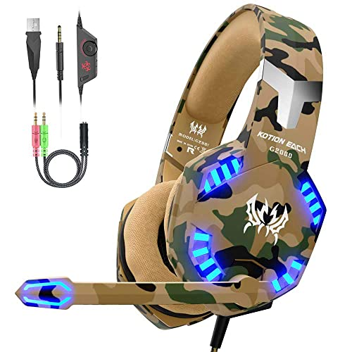 VersionTECH. Auriculares Gaming Cascos PS4 con Microfono, Diadema Ajustable, Bass OverEar 3,5mm Jack, Luz LED, Control de Volumen, Bajo Ruido para PS4/Xbox One/Nintendo Switch/PC/Móvil (Camuflaje)
