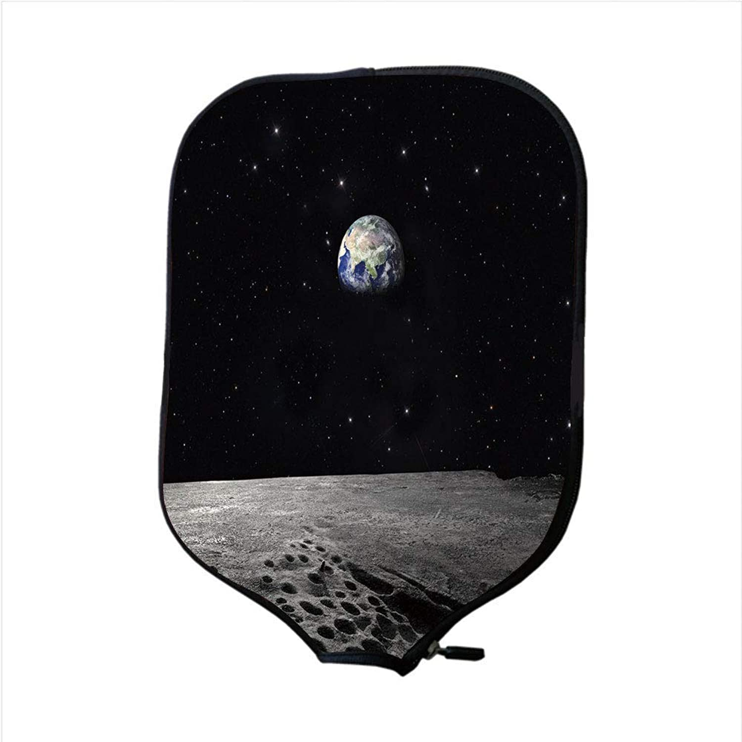 Fine Neoprene Pickleball Paddle Racket Cover Case,Earth,Planet Earth As Seen from The Moon Outer Space Milky Way Quiet Night Sky Galaxy Decorative,Black Grey blueee,Fit for Most Rackets