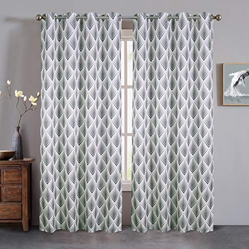 Linen Blackout Curtains for Living Room,Grommet Curtains for Living Room, Window Curtain Panels, Room Divider Curtain, Black Outlet Linen Curtains, Printed Closet Curtain, 84 Inches,Black Pearl
