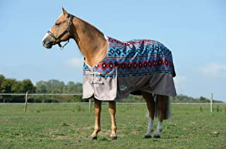 Weatherbeeta Comfitec Essential Standard Neck Medium Turnout Blanket (Blue Navajo Print/Taupe, 75