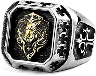 Jewelry Titanium Steel Plated Gold Lion Head Ring For Men's Rings