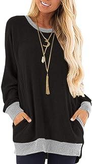 iChunhua Casual Women's Long Sleeve Crewneck T Shirt Sweatshirt Tops with Pockets S-XXL