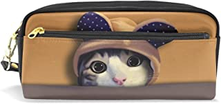 ALAZA Cute Kitten Cat Pencil Case Zipper PU Leather Pen Bag Cosmetic Makeup Bag Pen Stationery Pouch Bag Large Capacity