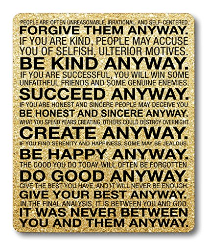 Smooffly Gaming Mouse Pad Custom,Mother Teresa Anyway Quote Mouse pad 9.5 X 7.9 Inch (240mmX200mmX3mm)