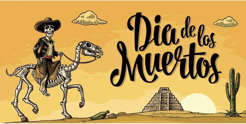 Leowefowa 15x8ft Day of The Dead Backdrop Dia De Los Muertos Photography Background Cartoon Riding Mexican Skeleton Pyramid Desert Cactus Illustration Fiesta Banner Indoor Decors Wallpaper
