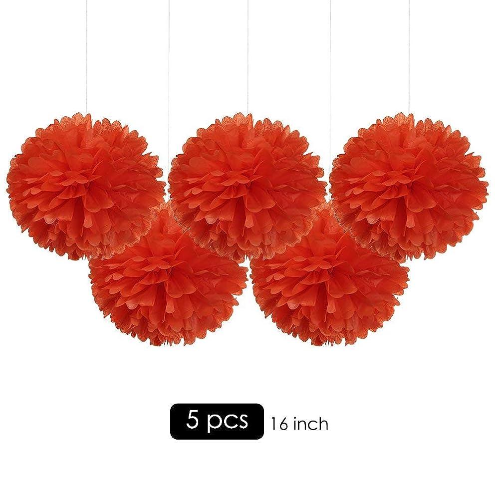 "16"" Orange Big Tissue Pom Poms Paper Flower Hanging Party Decorations, Pack of 5"