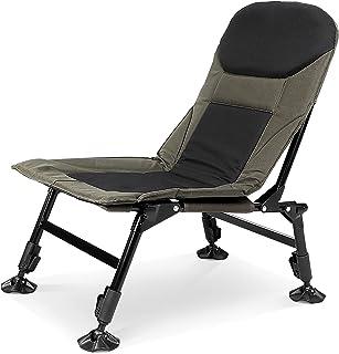 Ejoyous Fällbar fiskestol, karpstol med justerbart ryggstöd bärbar campingstol hopfällbar stol utomhusfiskarstol, för spor...