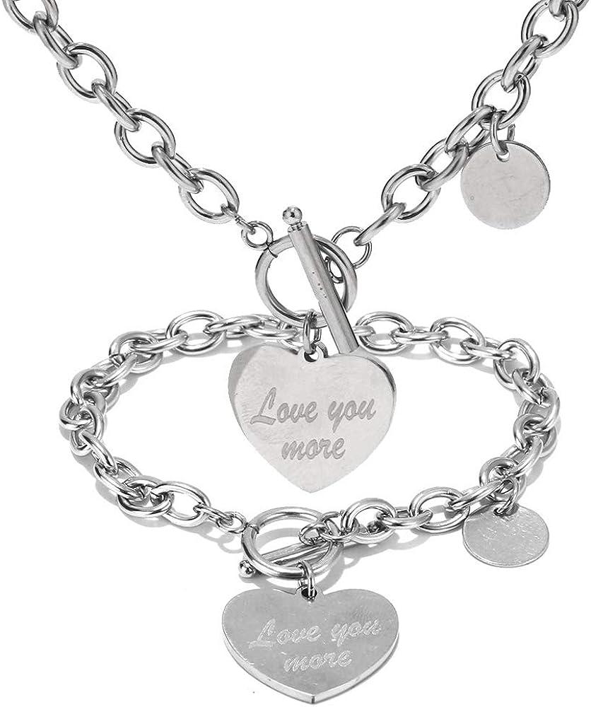 Heart Chain Necklace Heart Bracelet Lock Necklace Lock Bracelet Lock earring for Women Girls Love Charm Toggle Chain Jewelry Set
