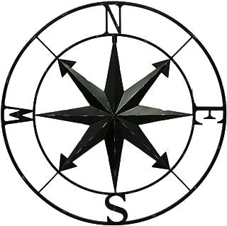 Zeckos Distressed Metal Indoor/Outdoor Compass Rose Wall Hanging 28 Inch