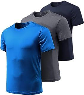 ATHLIO Men's (Pack of 3) Quick-Dri Fit Tee Performance Short Sleeve Mesh Top Crew Athletic T-Shirt