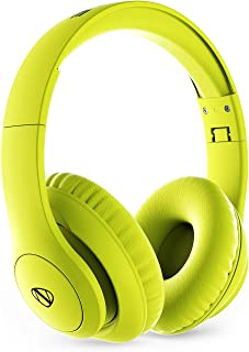 NCredible1 Bluetooth Wireless Headphones Hi-Fi Stereo Tuned by Nick Cannon, Portable Foldable Headset, Adjustable Padded Headband, Soft Ear Cushions, Built-in Mic, Ear Cup Controls (Neon Yellow)