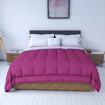 Q Quard Premium Microfibre Comforter Luxury All Season Comforter 200 GSM Plush Alternative Comforter Duvet Insert with 6 Built in Corner   Fluffy Lightweight Reversible   Queen, Deep Orchid/Pink