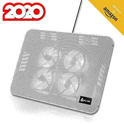 KLIM Serenity + Laptop-Kühler + 11 bis 15,6 Zoll + Perfekt für kleine und mittlere Laptops + Stabiles und Robustes Metallgitter + Geräuschloses Laptop-Kühlpad + NEU 2020 (Weiß)
