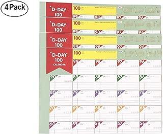 2019 Day Planer Sheet, 100 Days Countdown Schedule Wall Calendars Daily Behavior Chart,Daily Weekly Months Planner Goals Organizer Sheet - 4 Pack