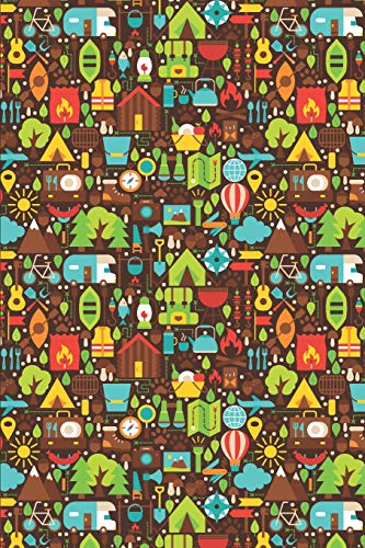 Hike Pattern - Colorful Hiking Icons Brown: Blank Lined Notebook for Hiking and Camping