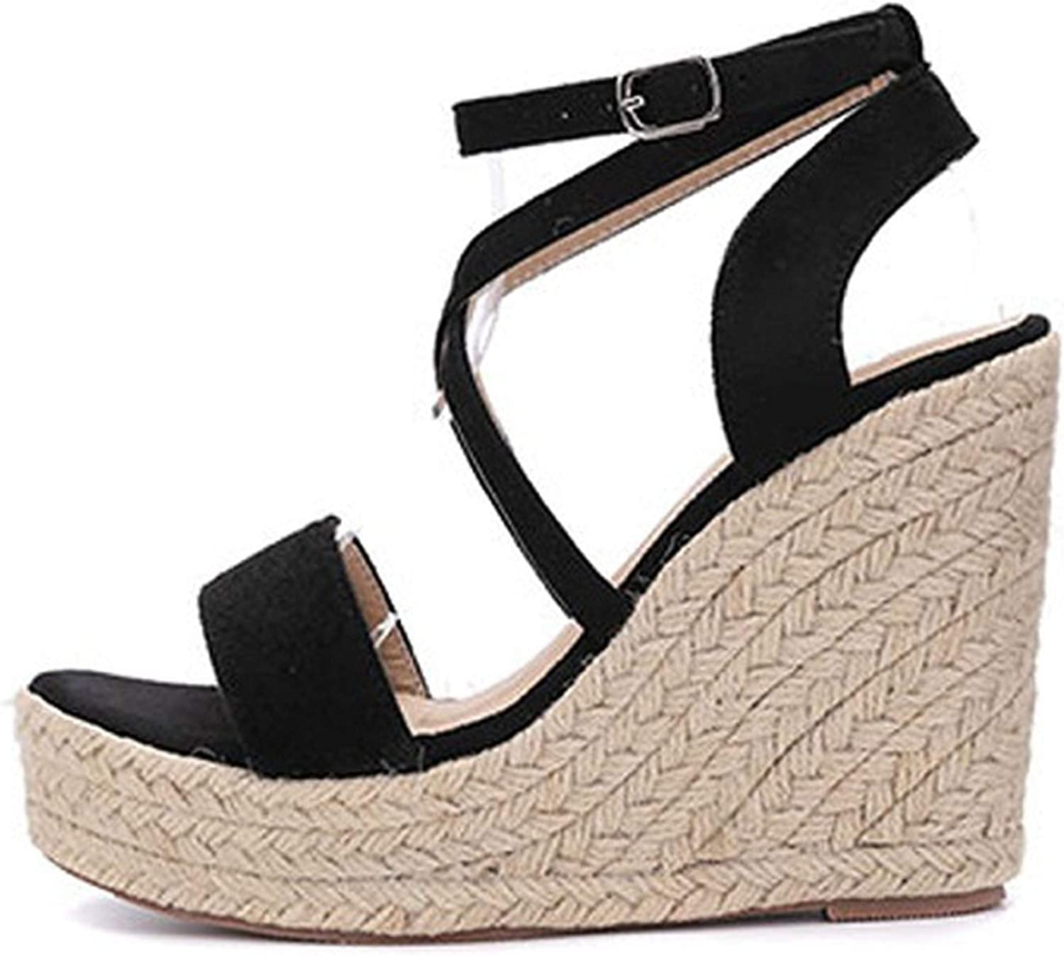HuangKang Platform 4Cm Women Sandals Buckle Strap Rome Wedges Sexy Peep Toe Fashion Ladies shoes Black Brown Sandals