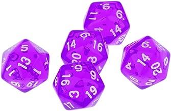 Blesiya Gem Muti Sided Dices Set of 5 D20 D&D TRPG Warhammer Games Purple